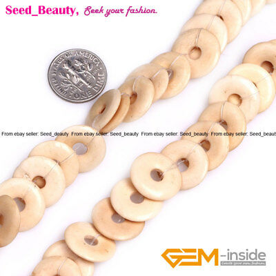 Yellow Coin Ring Donuts Large Bone Beads for Jewelry Making Bulk 16mm 24mm