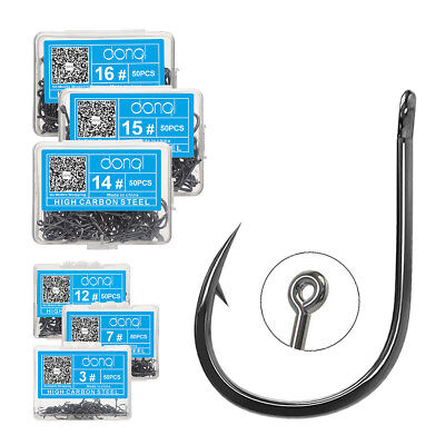 Lot 50pcs Baitholder Hook Jig Big Fishing Hooks Black HIgh Carbon Steel Fishook