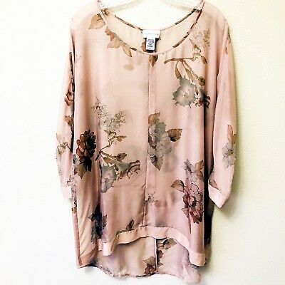0129350e2b4 SOFT SURROUNDINGS SILK Floral Tunic Womens Medium - $24.99 | PicClick