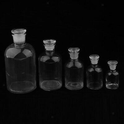 Reagent Medicine Storage Bottle Jar Clear w/ Stopper Lab Glassware 60-500ml