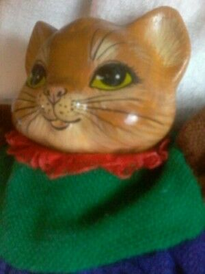 "Homemade Jointed CAT Lady Ceramic Head 13"" Gold STUFFED BODY in  DRESS"