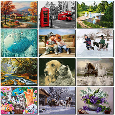 DIY Digital Oil Painting Kit Paint by Numbers No Frame Canvas Home Decor Gift CE