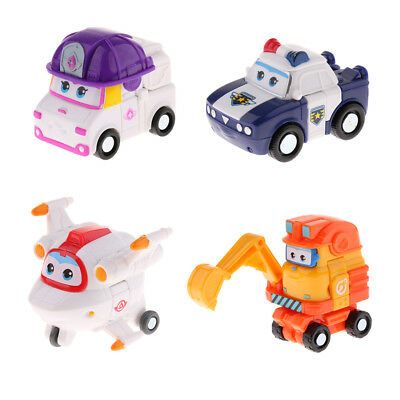 4PCS Super Wings Transforming Plane Vehicles Model Toy ZOEY KJM Astro Scoop