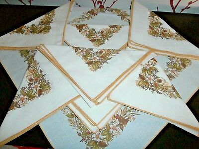 EIGHT HARVEST STYLE COTTON NAPKINS by MARKS & SPENCER