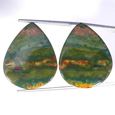31.60Cts 100% Natural bloodstone Opal Pear Pair Cabochon Loose Gemstone