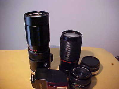Lot of 35mm Film Camera Acc. Soligor Sakar Lenses & Teleconverter Canon Flash
