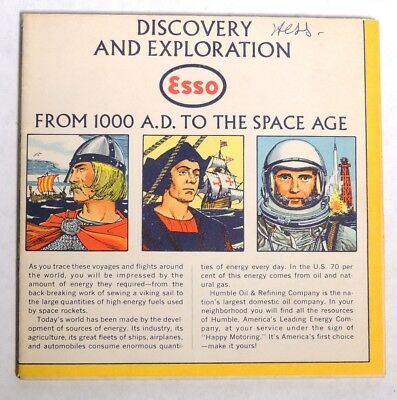 ESA2105. Vintage: DISCOVERY AND EXPLORATION MAP 1000 AD To Space Age Esso (1963)