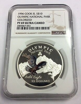 1996 Cook Island Silver $10 Olympic National Park Colorized PF 69 NGC