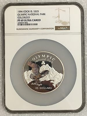 1996 Cook Island Silver 5 Oz $25 Olympic National Park Colorized PF 69 NGC