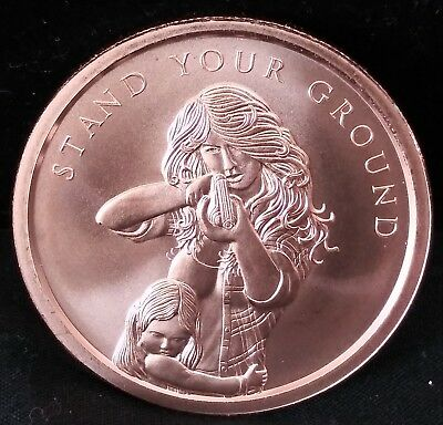2018 1oz Silver Shield Stand Your Ground .999 Copper Round In Hand Mini Mintage