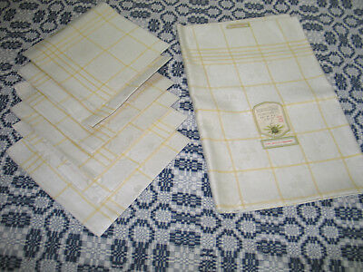 Exquisite Antique Linen Damask Tablecloth & 6 Napkins~UNUSED ORIGINAL LABEL
