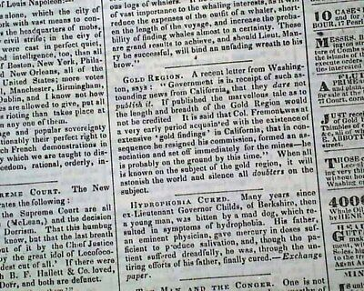 CALIFORNIA GOLD RUSH Fever 49ers Miners Mining Discoveries 1848 Old Newspaper