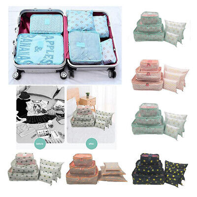 6Pcs Travel Storage Bag for Clothes Packing Cube Luggage Set Suitcase Organizer