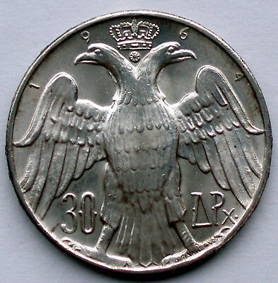 GREECE 30 DRACHMAI 1964 KM#87 Constantine and Anne-Marie Wedding, Silver HH7.2