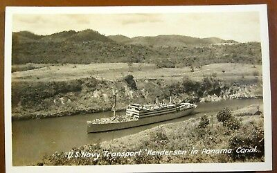 PCMV492 Postcard Photo Panama Canal US Navy Transport Henderson Canal Zone Stamp