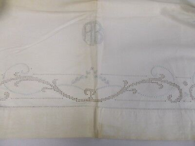 "ANTIQUE LINEN SHEET BLANKET COVER w BUTTONHOLES CUTWORK EMBROIDERY MONOGRAM ""AB"""