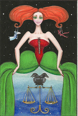 Aceo Print Of Painting Ryta Wicca Crow Angel Gothic Victorian Halloween Fairy