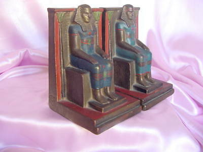 ANTIQUE 1920s DECO EGYPTIAN REVIVAL PHARAOH ARMOR-CLAD BOOKENDS GUDEBROD VINTAGE
