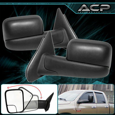 Pair Black Power Extended Extendable Heated Towing Mirrors 03-09 Ram 2500