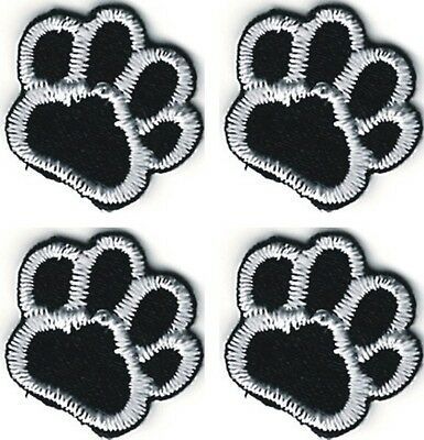 """5/8"""" five eighths inch Lot of 4 Black White Dog Animal Paw Print Patch"""