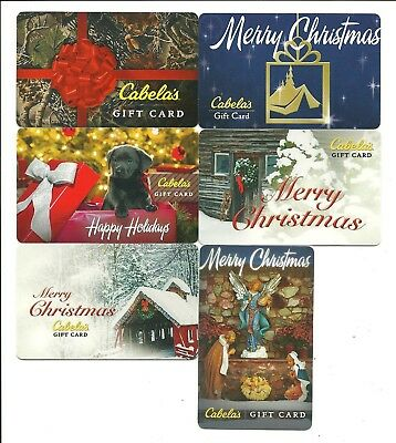 Lot (6) Cabela's Christmas Holiday Gift Cards No $ Value Collectible Angel, Dog