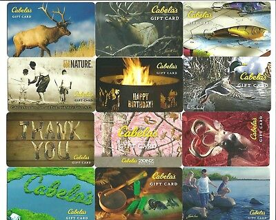 Lot (12) Cabela's Gift Cards No $ Value Collectible Fish Lure Duck Deer Moose