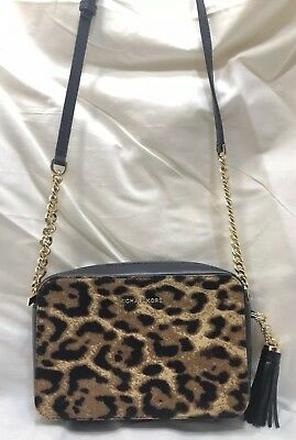 d2eda65a28a7 NWT MICHAEL Kors Ginny Medium Leopard Calf Hair Camera Bag BUTTERSCOTCH  228