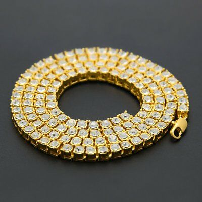 Mens 18K Gold Tennis Bling Diamond Chain Hip Hop Necklace Choker Fashion Jewelry