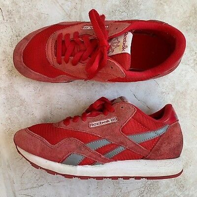 f59666c4e76e2 REEBOK CLASSIC — Red Leather Suede White Details Athletic Shoes Women s Size  8.5