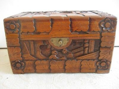 Vintage handcrafted carved CAMPHOR wood LIDDED BOX - CHINA - Chinese figures