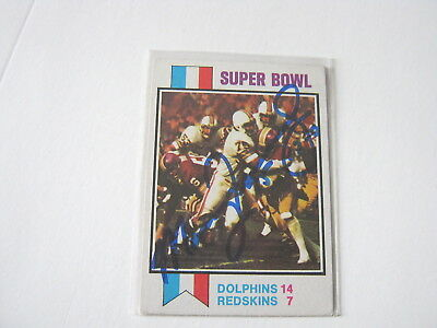 Manny Fernandez Signed Autograph Card 1973 Topps Football Super Bowl Dolphins