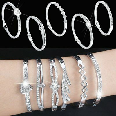 Fashion Crystal Rhinestone Love Bangle Cuff Charm Bracelet Women Jewelry Gift