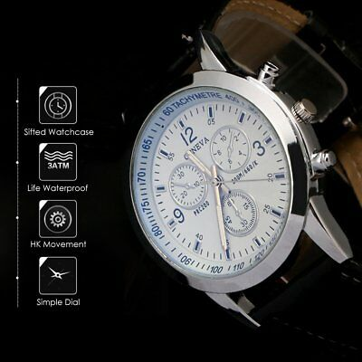 Men's Leather Military Casual Analog Quartz Wrist Watch Business Watches Unisex