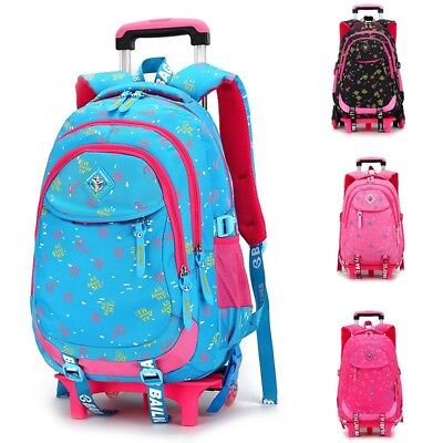 Backpack Trolley Rolling School Bags Kids Travel Hiking Removable Wheeled Bag