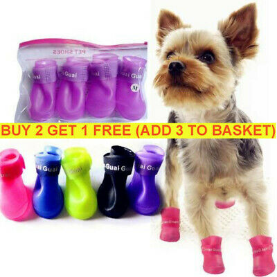 4x Cute Rain Boots Rubber Foot Protective Waterproof Pet Shoes For Dog Puppy UK