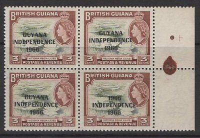 "GUYANA SG422a 1967 3c BROWN-OLIVE ""1966 FOR GUYANA"" MNH BLOCK OF 4"