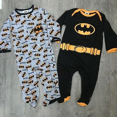 2 Pack DC Batman Baby Boy Sleepsuit All In One Babygrow Age 0 - 6 Months