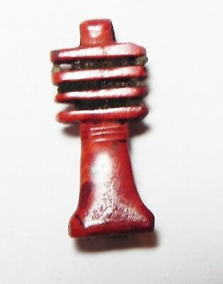 Zurqieh -As10081- Ancient Egypt, Red Jasper Djed Pillar Amulet. 1400 B.c