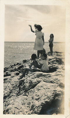 1940s WWII  Hawaii Photo windward Oahu Hawaii kids at ocean
