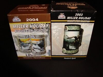 2003-2004 Miller Wildlife Holiday Steins Set of 2 w/Boxes – FREE SHIPPING