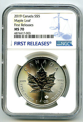 2019 $5 Canada 1 Oz Silver Maple Leaf Ngc Ms70 Rare First Releases Blue Label