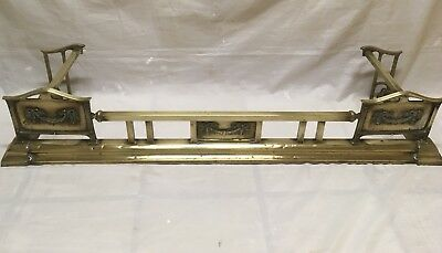 Brass fire fender vintage arts and crafts art deco style Edwardian