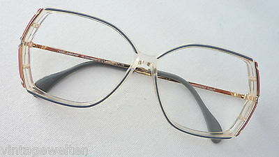 Owp Large Ladies Glasses Acetate Plastic Vintage 70s New XL Grey Red SIZE M