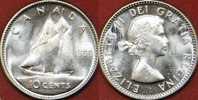 Brilliant Uncirculated 1955 Canada Silver 10 Cents From Mint's Roll