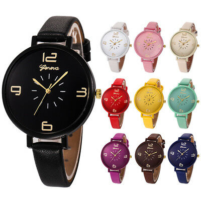 Fashion Women Lady Casual Big Dial Faux Leather Quartz Analog Wrist Watch Gift