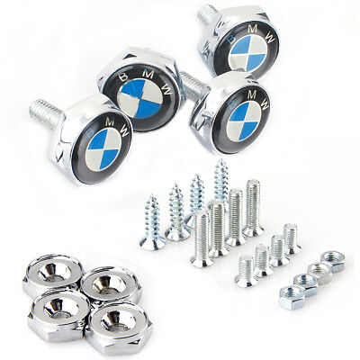 4PCS BMW Chrome Car License Plate Frame Screw Bolt Cap Cover Screw Bolts Nuts