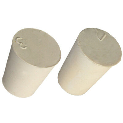 2 Sizes White Tapered Rubber Plug Stopper Bung Flask - 10PCS - Lab Supplies