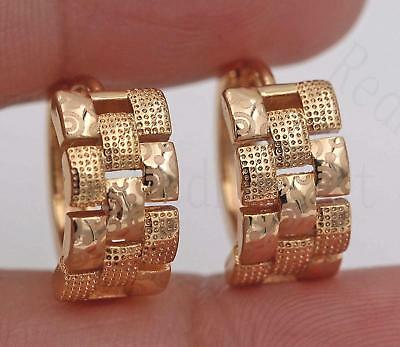 18K Yellow Gold Filled Earrings Laser Carved Rectangle Hollow Ear Hoop Stud Prom
