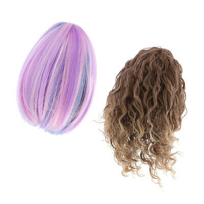 Wavy Curly/Straight Scalp Heat Hair Wig for 18'' American Girl Dolls DIY