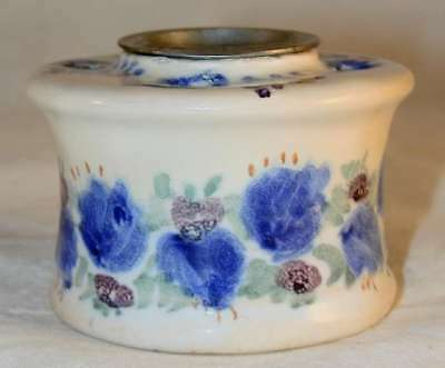 Beautiful Early Primitive France Faience Inkwell Blue White Floral Design